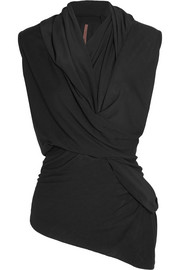 Rick Owens Twist-front crepe de chine-trimmed stretch-jersey top