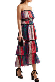 Sonia Rykiel Tiered printed cotton midi dress