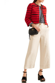 Cropped stretch-cady wide-leg pants