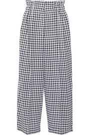 Cropped gingham wool wide-leg pants