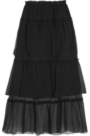 Sonia Rykiel Ruffled tiered silk-georgette maxi skirt