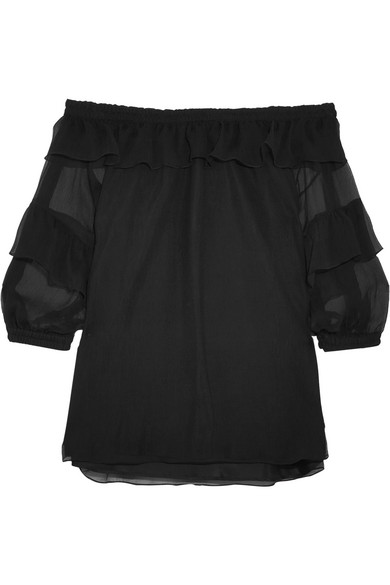 Sonia Rykiel - Off-the-shoulder Ruffled Silk-georgette Blouse - Black