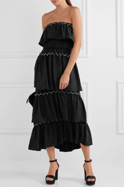 Sonia Rykiel Strapless tiered embellished crepe maxi dress