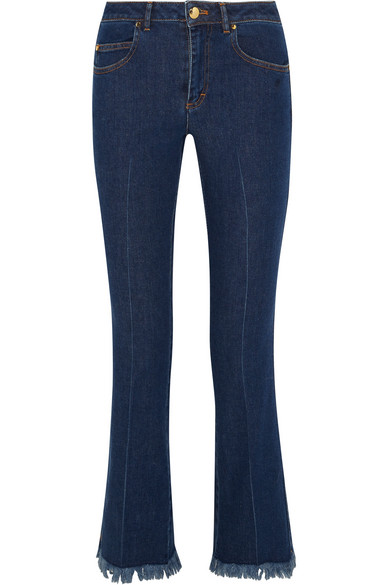Cropped frayed mid-rise flared jeans