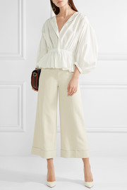 Sonia Rykiel Gathered cotton-blend poplin blouse