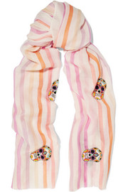 Embellished striped cashmere and merino wool-blend scarf