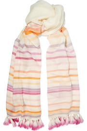 Tasseled striped merino wool scarf