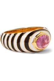 Percossi Papi Gold, enamel and tourmaline ring