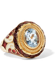 Gold, enamel, topaz and garnet ring