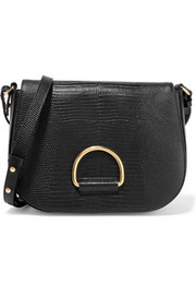 Little Liffner D Saddle medium lizard-effect leather shoulder bag