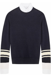 Poplin-trimmed striped wool and cotton-blend sweater
