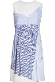 Paneled cotton-twill mini dress
