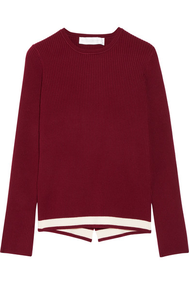 Wrap-effect ribbed stretch-knit sweater
