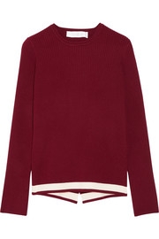 Victoria, Victoria Beckham Wrap-effect ribbed stretch-knit sweater