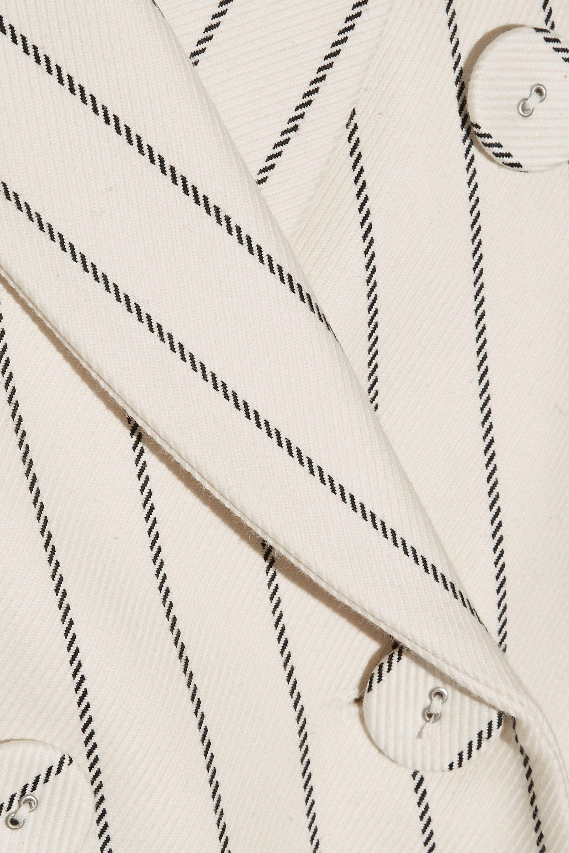 Victoria, Victoria Beckham Pleated striped wool and cotton-blend blazer
