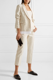 Pleated striped wool and cotton-blend blazer