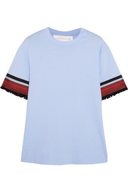 Grosgrain-trimmed cotton T-shirt