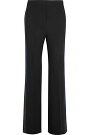 Grosgrain and satin-trimmed crepe wide-leg pants