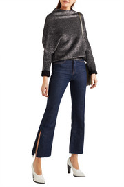 Cropped frayed high-rise flared jeans