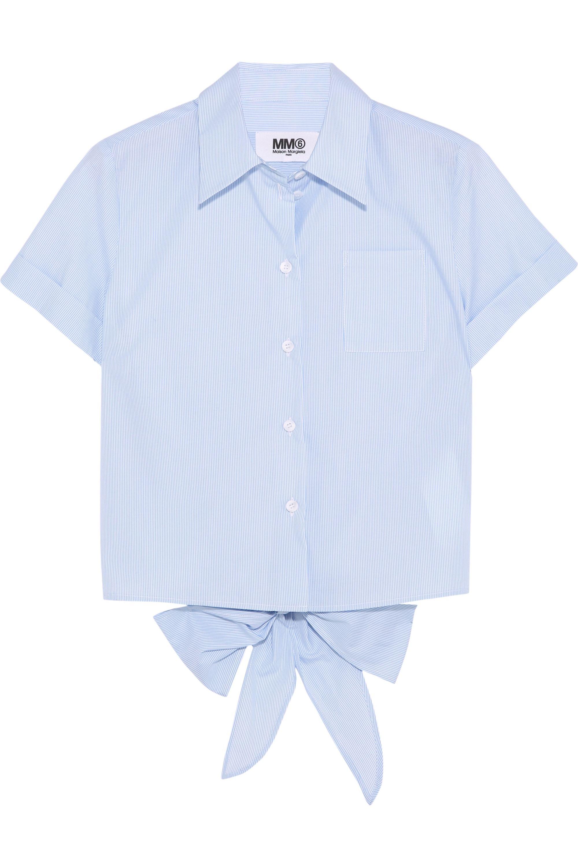 MM6 Maison Margiela Tie-back striped cotton-poplin shirt