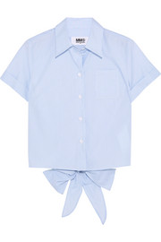 Tie-back striped cotton-poplin shirt
