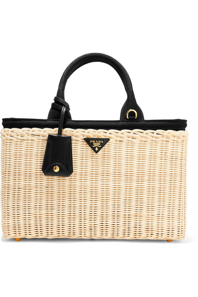 Midollino large leather-trimmed canvas and wicker tote