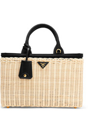 Prada Midollino large leather-trimmed canvas and wicker tote