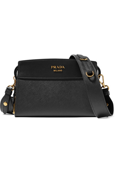 Prada - Esplanade Small Textured-leather Shoulder Bag - Black