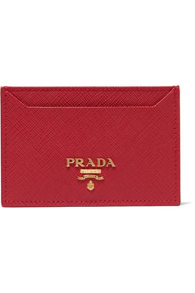 Prada Saffiano Card Holder, Black (nero), Medium Red
