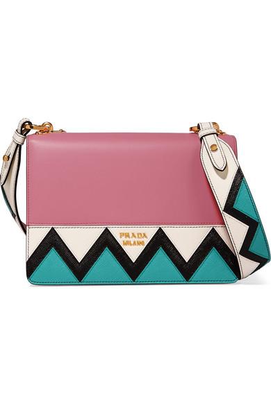 Prada - Zig Zag Leather Shoulder Bag - Pink