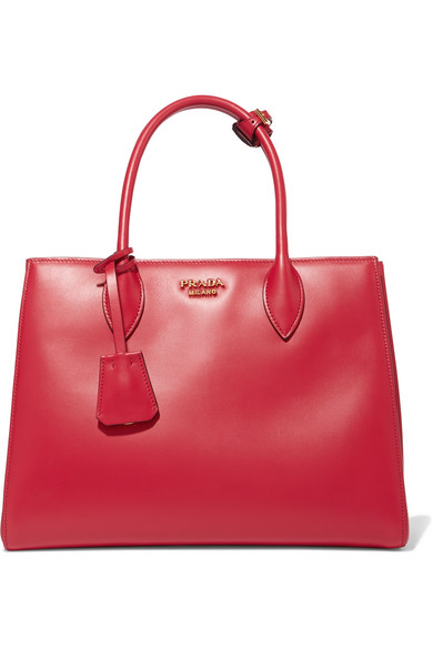Prada - Bibliothèque Small Leather Tote - Red at NET-A-PORTER
