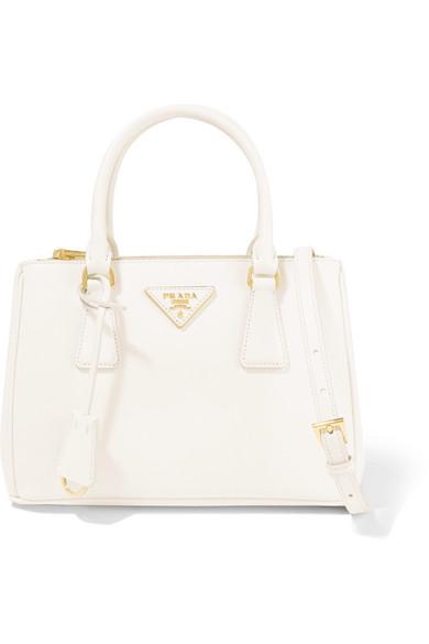 Prada - Galleria Mini Textured-leather Tote - White at NET-A-PORTER