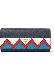 Prada Zig Zag textured-leather continental wallet