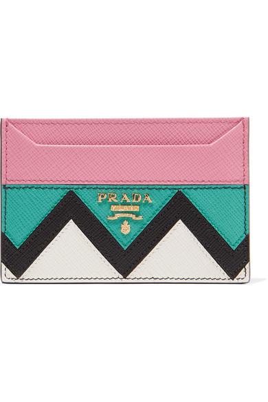 Prada - Paneled Textured-leather Cardholder - Pink