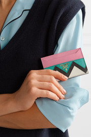 Paneled textured-leather cardholder