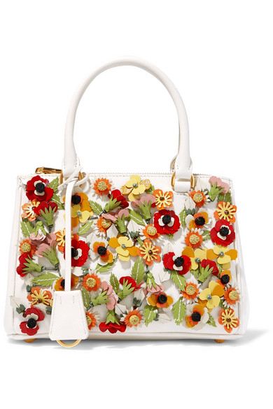 Prada - Galleria Garden Mini Appliquéd Textured-leather Tote - Ivory