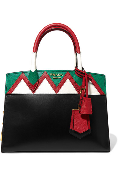Prada - Zig Zag Esplanade Textured-leather Tote - Black