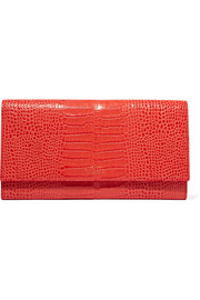 Smythson Mara Marshall croc-effect glossed-leather wallet