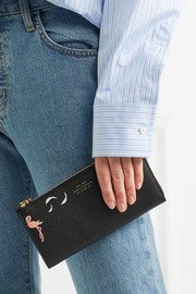 Panama printed textured-leather wallet