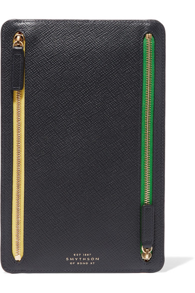 Smythson - Panama Textured-leather Wallet - Navy