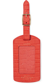 Smythson Mara croc-effect leather luggage tag