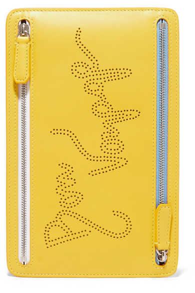Smythson - Picadilly Perforated Leather Wallet - Yellow