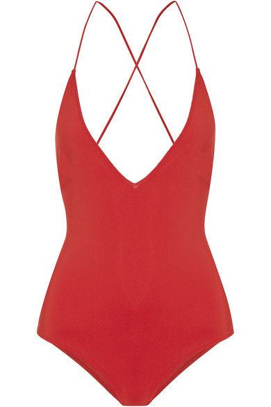 Emma Pake - Antonia Lace-up Swimsuit - Red