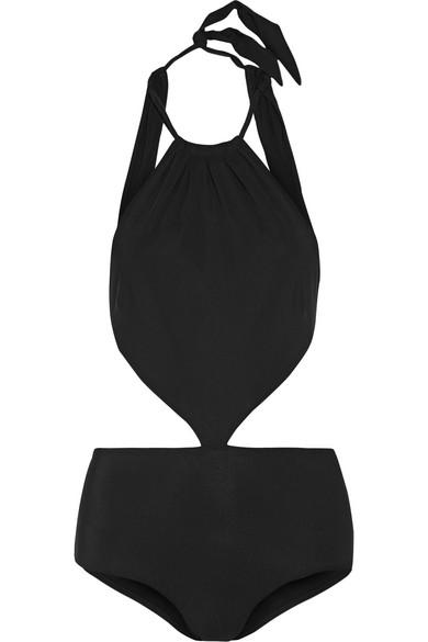 Emma Pake - Stella Cutout Halterneck Swimsuit - Black