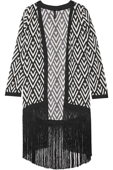 Emma Pake - Liliana Fringed Printed Voile Kimono - Black