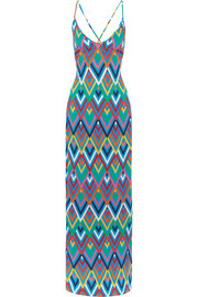 Emilia printed crepe de chine maxi dress
