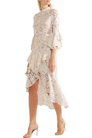 The Society ruffled guipure lace dress