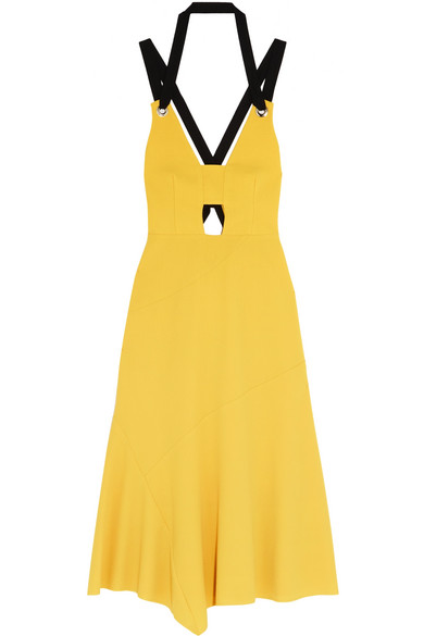 Rebecca Vallance - Breakers Grosgrain-trimmed Stretch-crepe Dress - Yellow