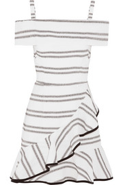 Jupiter ruffled striped cloqué mini dress