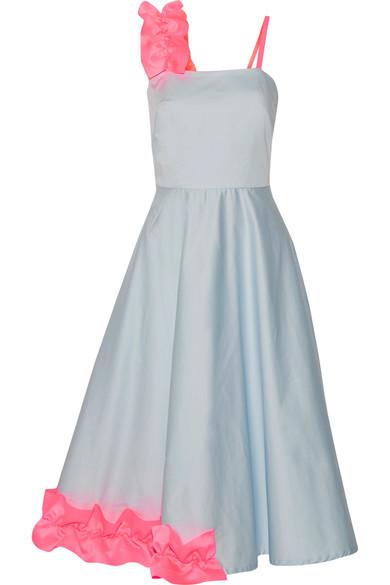 Paskal - Ruffled Satin-trimmed Stretch-cotton Poplin Midi Dress - Sky blue